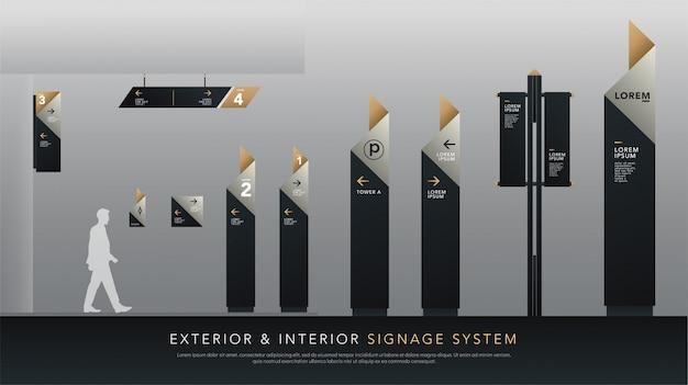 Sistema de sinalização exterior e interior