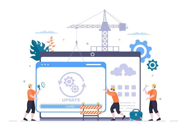 Sistema de software em ilustração vetorial de manutenção. site de erro, desenvolvimento e atualização de páginas da web em aplicativos móveis para modelo de pôster