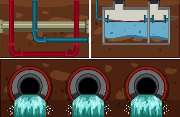 Sistema de tubulação de esgoto de água subterrânea