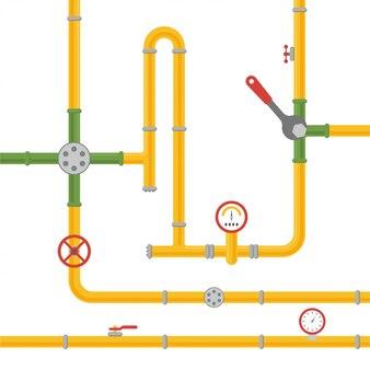 Sistema de tubulação para admissão de óleo, água ou gás.