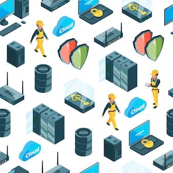 Sistema eletrônico de padrão de ícones de centro de dados ou ilustração