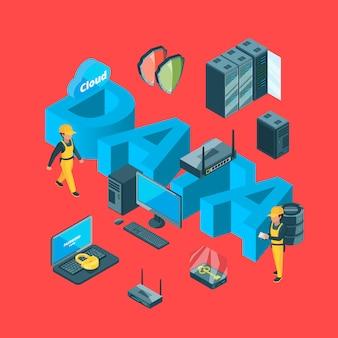Sistema eletrônico de vetor de ilustração de conceito de infográfico de data center