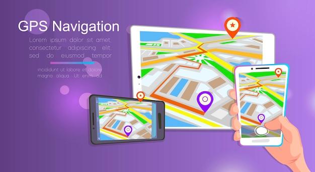 Sistema gps de navegação móvel.