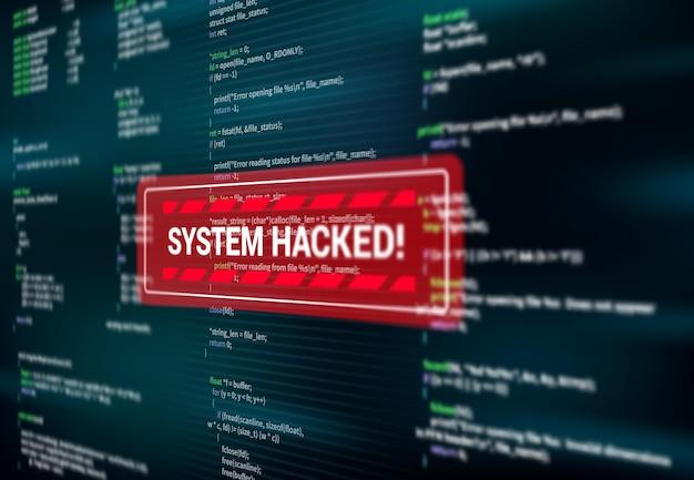 Sistema hackeado, mensagem de alerta de advertência na tela de ataque de hack, vetor. spyware ou malware vírus detectado avisando janela de mensagem vermelha na tela do computador, segurança cibernética na internet e fraude de dados