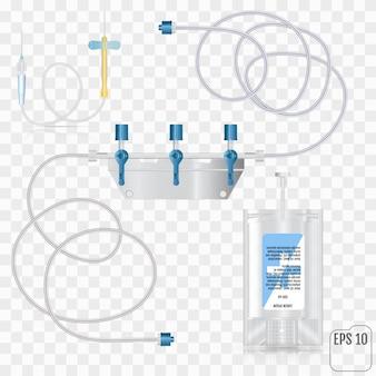 Sistema para infusão intravenosa com um redutor.