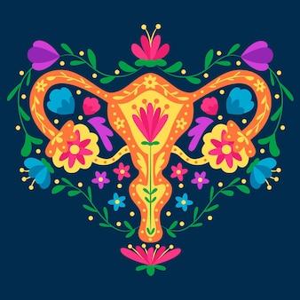 Sistema reprodutivo feminino com ilustração de flores