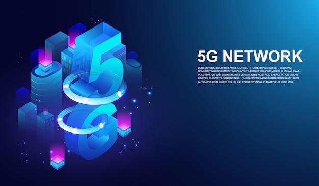 Sistema sem fio de rede 5g e telecomunicações pela internet