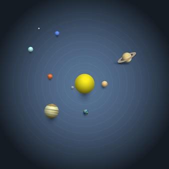 Sistema solar, -, 3d planetas, ligado, órbitas
