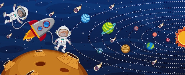 Sistema solar na galáxia com um astronauta e um foguete