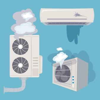 Sistemas de ar domésticos quebrados e ventilação eficiente.