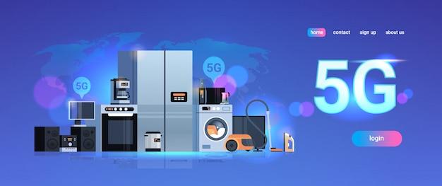 Sistemas de tecnologia de rede de torre de comunicação on-line 5g conceito de informações de conexão de eletrodomésticos inteligentes digitais