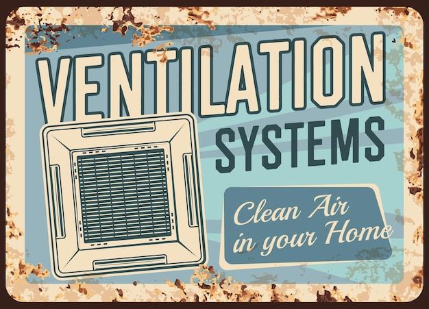 Sistemas de ventilação placa de metal enferrujado aparelhos de limpeza do ar doméstico