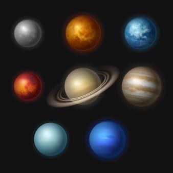 Sistemas planetários. universo realista objetos estrelas sistemas astronomia lua gravidade júpiter coleção de vetores. ilustração marte e júpiter, cosmos planetário solar realista