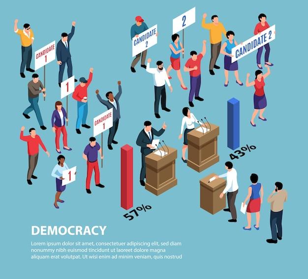 Sistemas políticos isométricos com personagens de pessoas segurando cartazes com nomes de candidatos e gráficos de barras