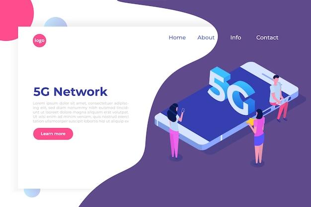Sistemas sem fio de rede 5g, conceito isométrico de internet móvel de alta velocidade.