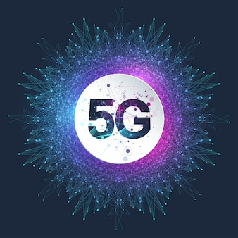Sistemas sem fio de rede 5g e ilustração da internet. rede de comunicação. bandeira do conceito de negócio. banner do conceito de inteligência artificial e aprendizado de máquina