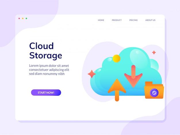 Site armazenamento nuvem modelo página design ilustração vetor página inicial
