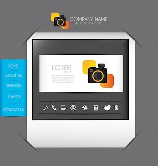 Site cinza sobre foto com ilustração vetorial de câmera