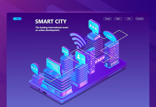 Site com 3d isométrica cidade inteligente