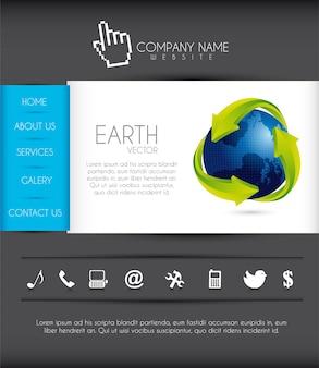 Site com ícones e ilustração vetorial de planeta