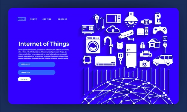 Site conceito internet das coisas (iot). ilustração.
