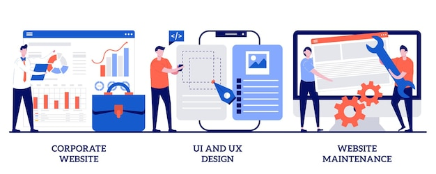 Site corporativo, design de ui e ux, conceito de manutenção de site com pessoas minúsculas. conjunto de desenvolvimento web. serviço de design gráfico, aplicativo móvel, interface de usuário, metáfora de suporte.