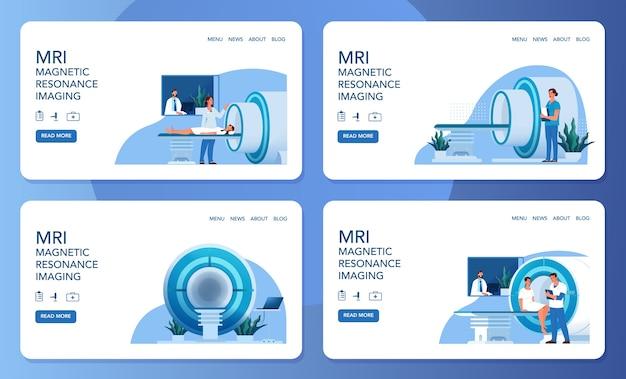 Site da clínica de ressonância magnética. pesquisa e diagnóstico médico. scanner tomográfico moderno. cuidados de saúde . conjunto de banner da web.