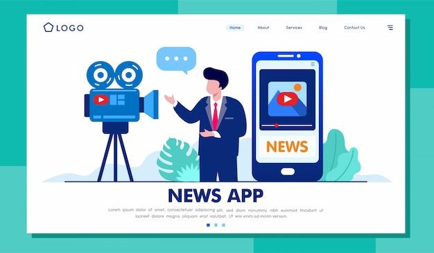 Site da página de destino do aplicativo notícias