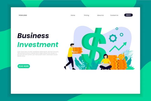 Site da página de destino do investimento comercial