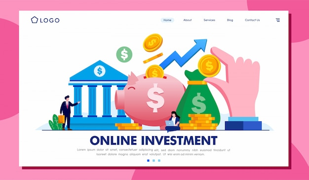 Site da página de destino do investimento on-line