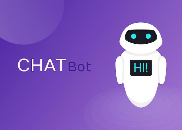 Site de assistência virtual do robô robô de bate-papo ou aplicativos móveis, ilustração plana de inteligência artificial