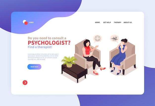 Site de banner de psicólogo isométrico w
