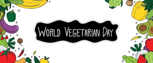Site de banner horizontal do dia mundial vegetariano com estilo doodle