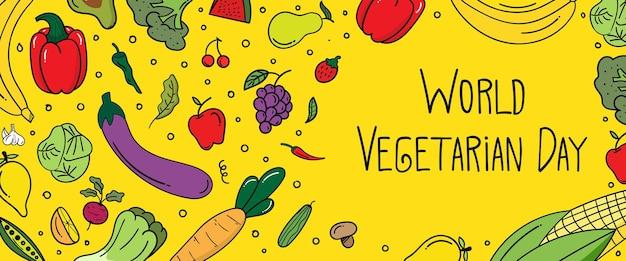 Site de banner horizontal do dia mundial vegetariano com rabisco de doodle. conceito de comida saudável. ilustração vetorial