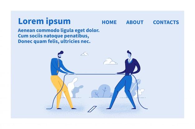 Site de cartões de páginas da web com design de concorrência comercial