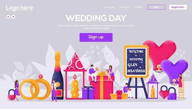 Site de casamento. personagem de pessoas com itens em torno do fundo do conceito de ícones de casamento.