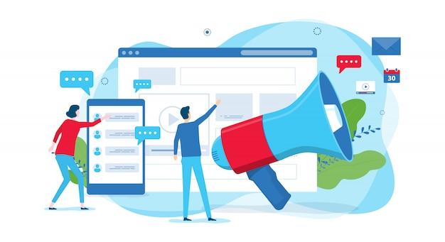 Site de conceito de design de ilustração plana promovendo negócios de marketing digital e equipe de pessoas trabalhando