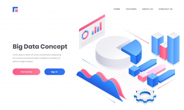 Site de conceito de grande volume de dados ou design de página de destino com elementos 3d infográfico