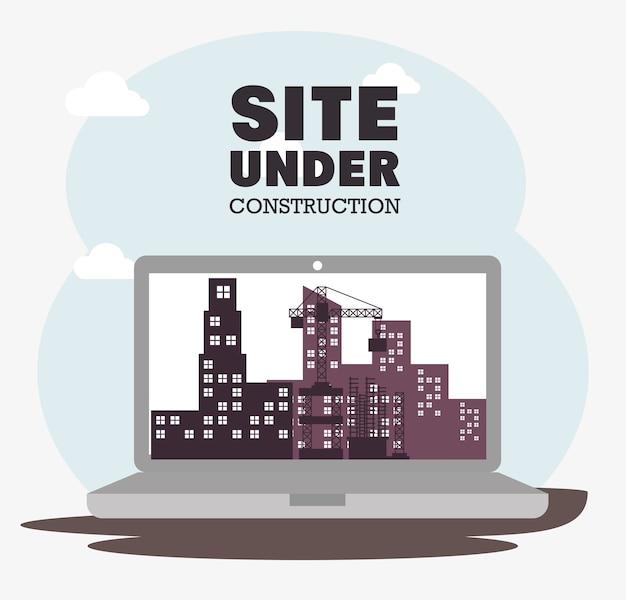 Site de laptop em construção ícone
