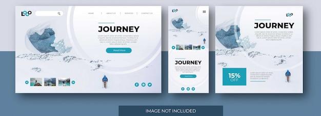 Site de página de destino de viagem, tela do aplicativo e modelo de postagem de feed de mídia social com montanha