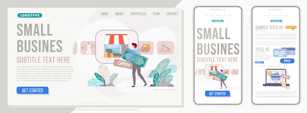 Site de pequenas empresas. página inicial para proprietário de uma pequena empresa com modelo de site para celular e pc. conceito de design do layout do site da página inicial.