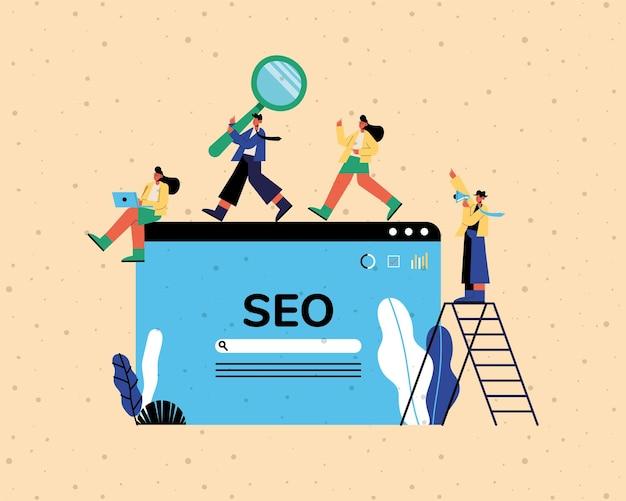 Site de seo e pessoas com design de escada e ícones, marketing digital, comércio eletrônico e ilustração do tema online