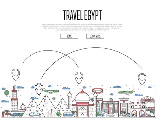 Site de viagens egito em estilo linear