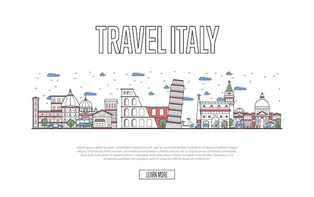 Site de viagens itália em estilo linear