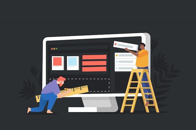 Site do conceito em construção, processo de construção de página da web.