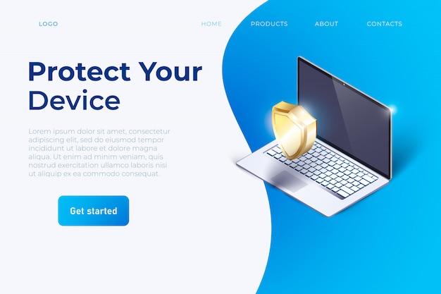 Site do slogan proteja seu dispositivo