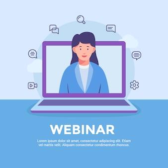 Site do webinar, que aprende educação on-line com curso de ensino de mulher ou mulher na tela do laptop com estilo moderno e plano