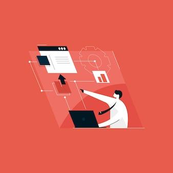 Site e aplicativo móvel e conceito de desenvolvimento, ilustração de gerenciamento de fluxo de trabalho