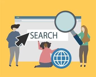 Site e ilustração de ilustração de presença on-line