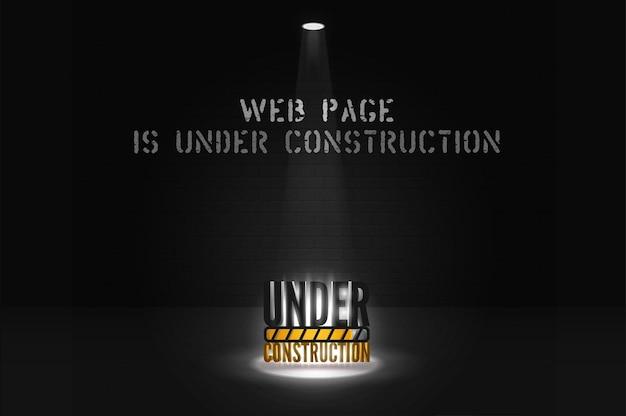 Site em breve mensagem com holofote em cena. sob alerta de construção em holofotes em fundo preto. banner escuro da página da web com texto brilhante